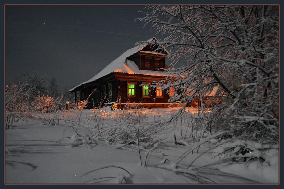 Вечерние окошки деревня