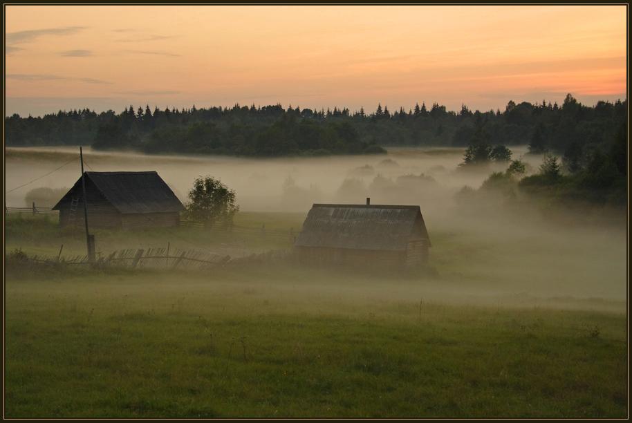 туман исток Волги бани вечер закат