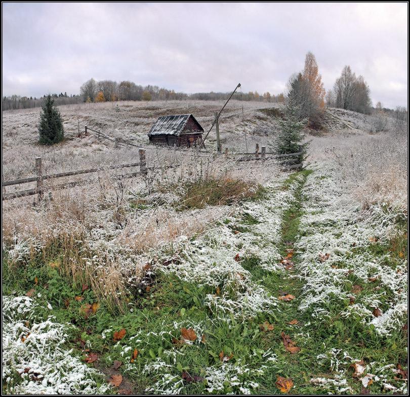 Баня и колодезный журавль осень