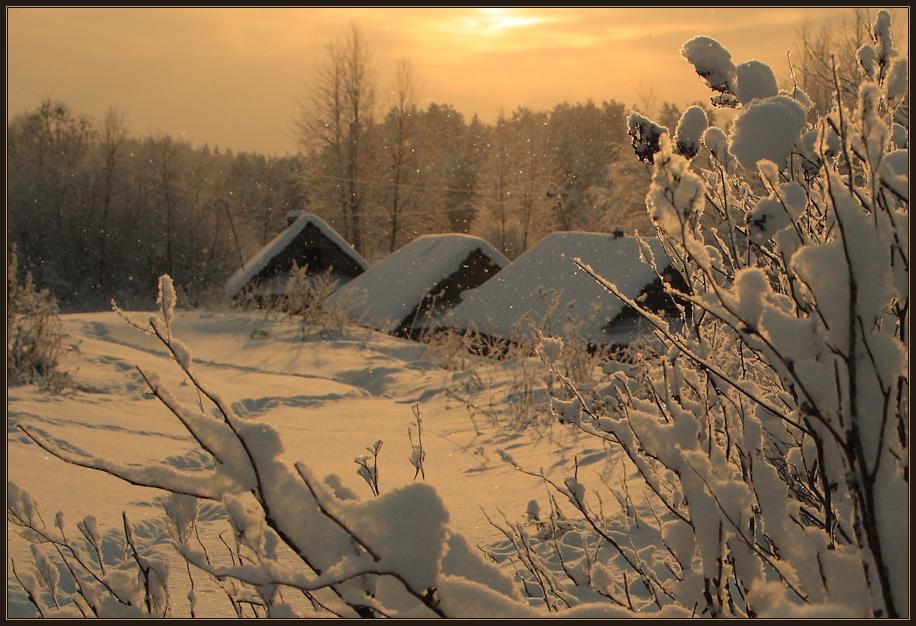 Бани зимний вечер