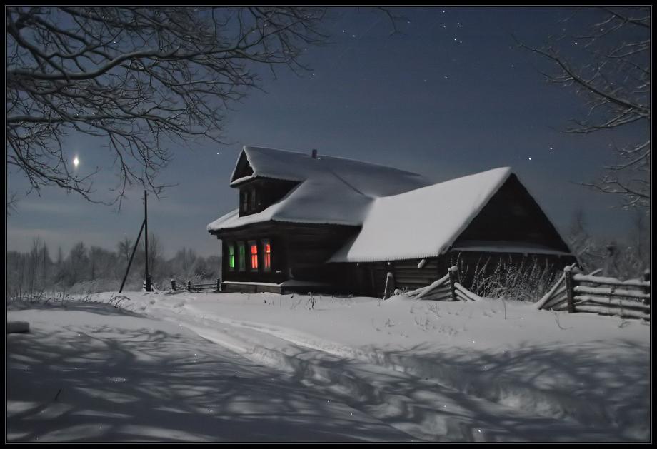 Морозная ночь в деревне