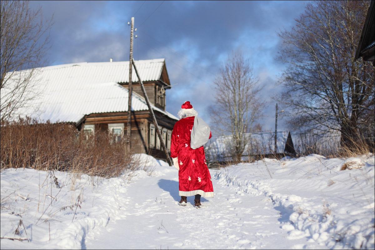 Дед Мороз с мешком деревня