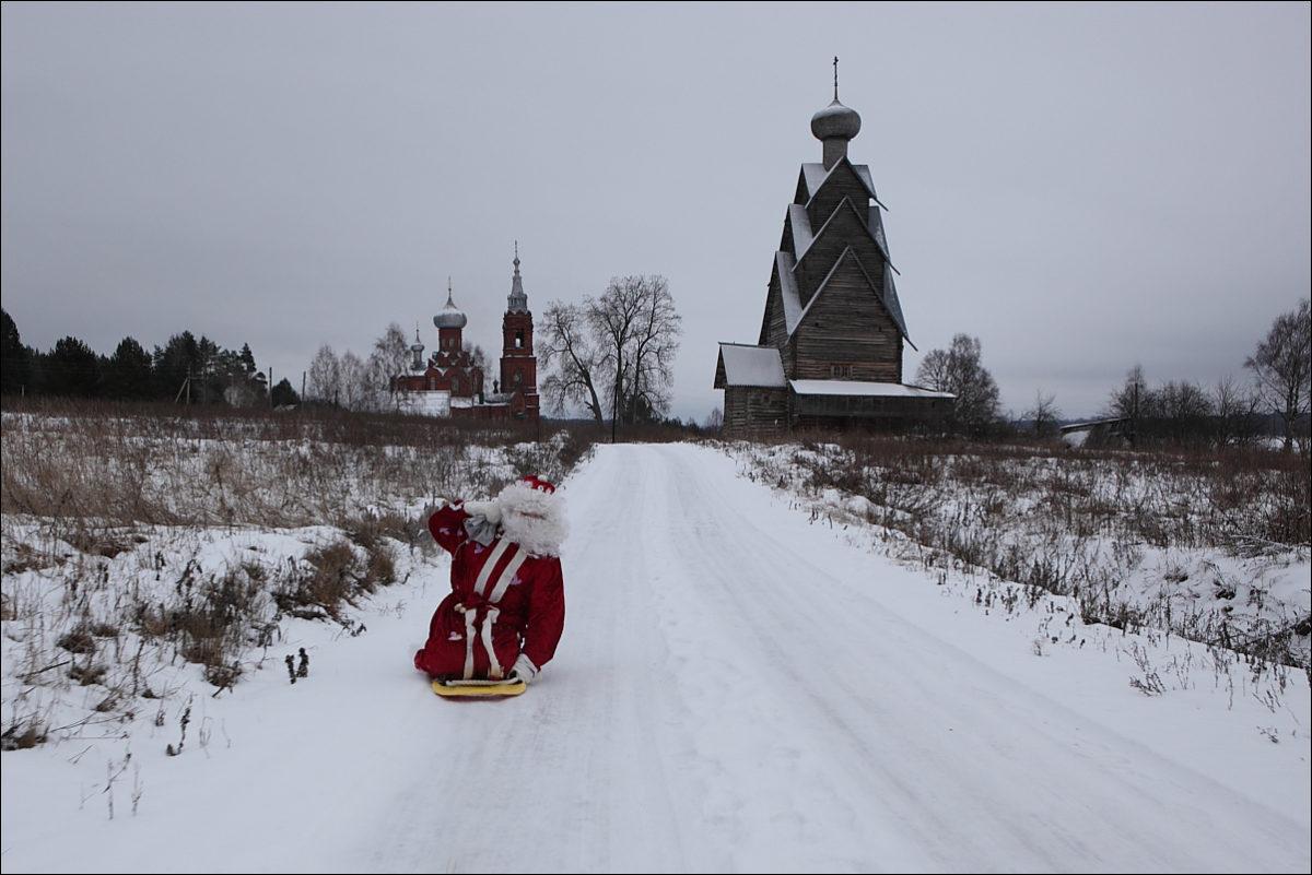Дед Мороз зима деревня церкви