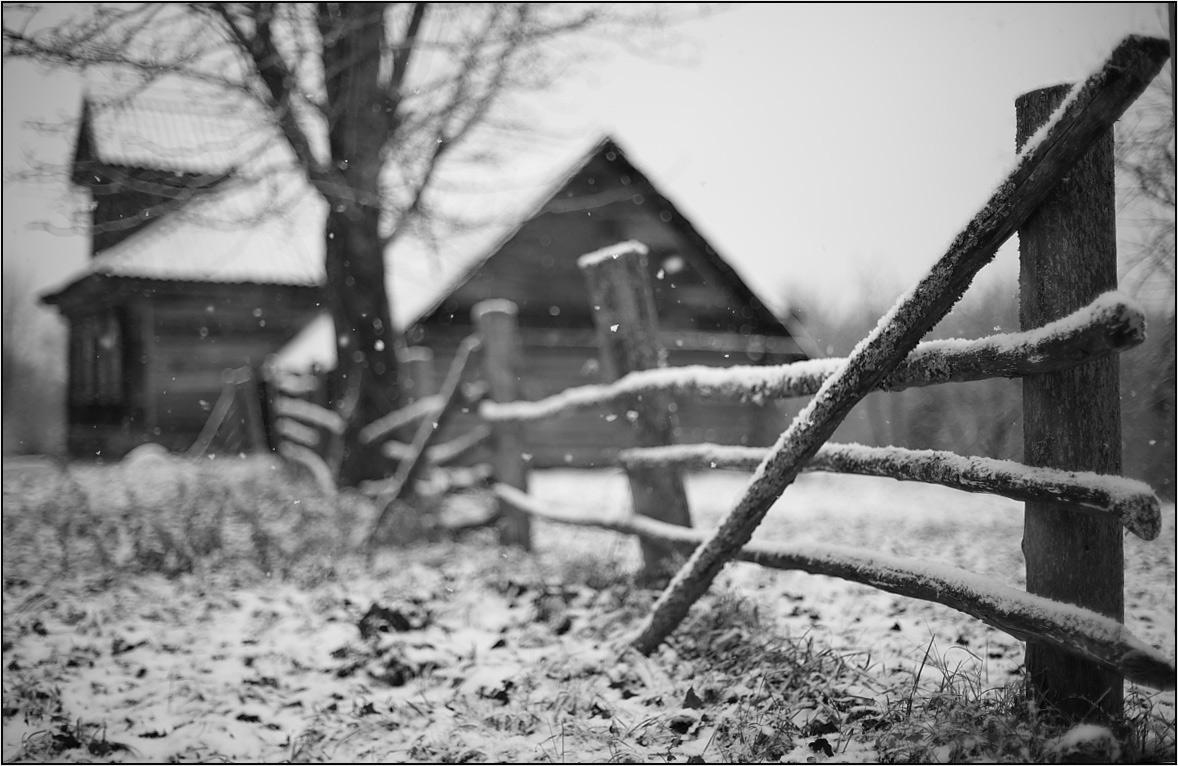 деревенский дом с забором