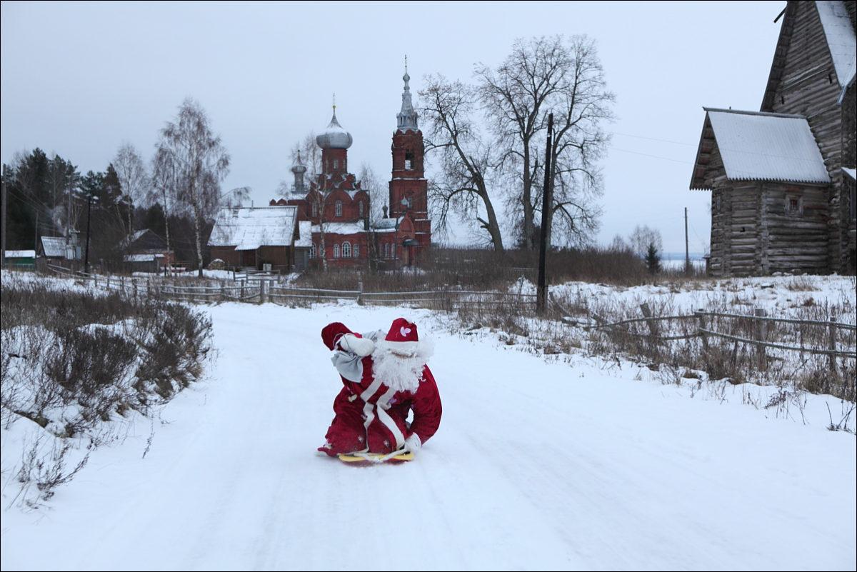 Дед Мороз деревня церкви