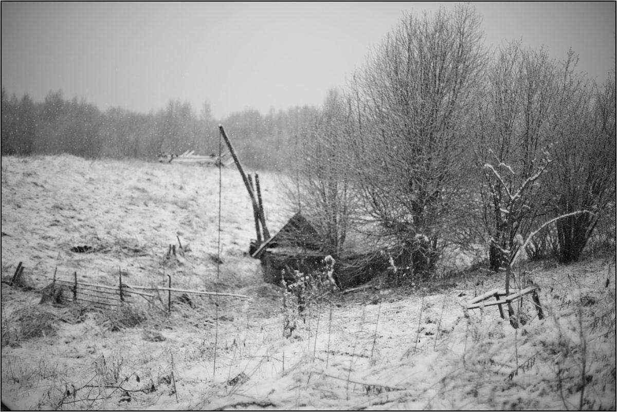 баня колодец с журавлем зима