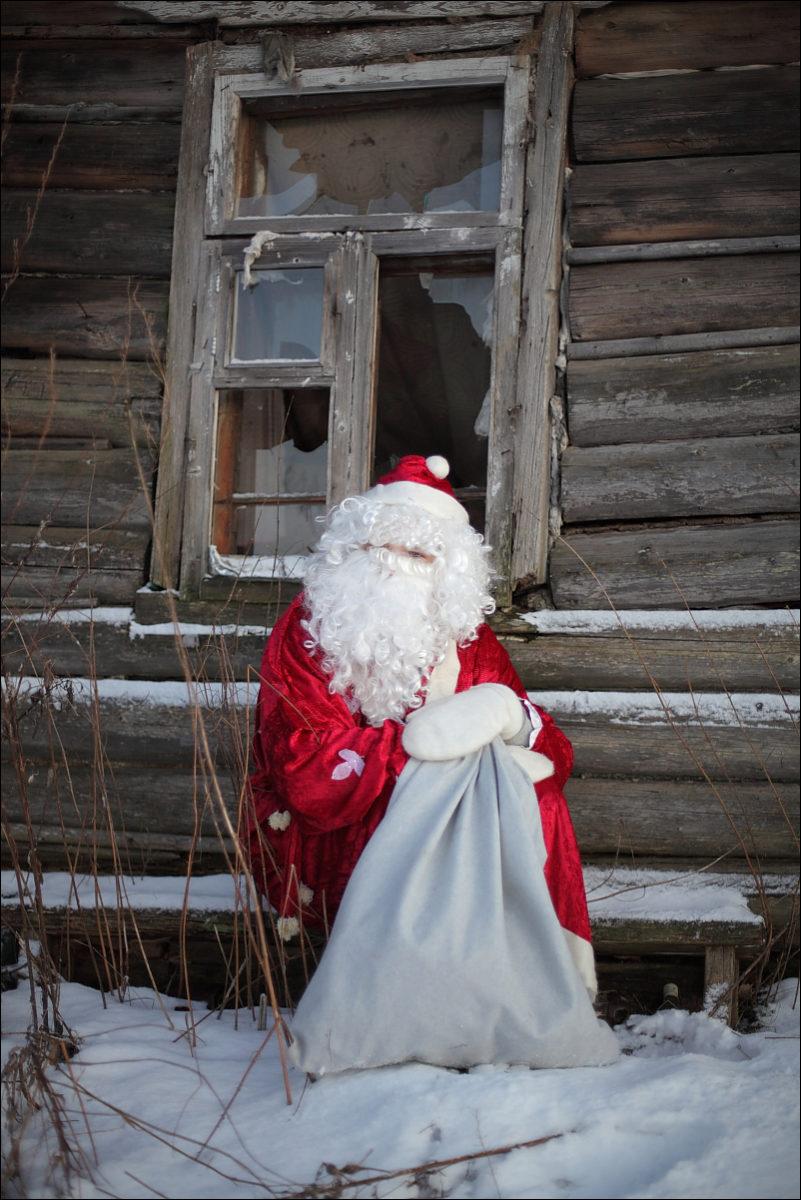 Дед Мороз старый дом деревня