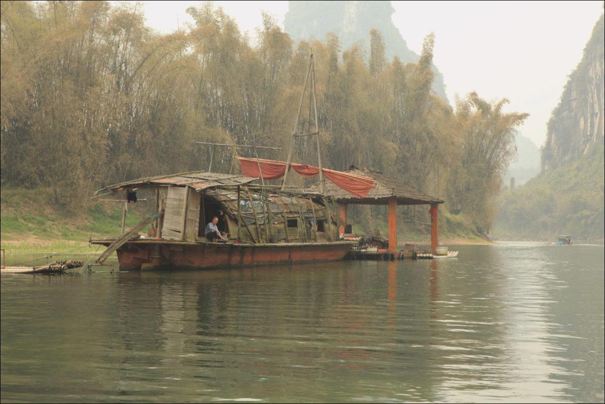 Река Ли жилище рыбака Китай