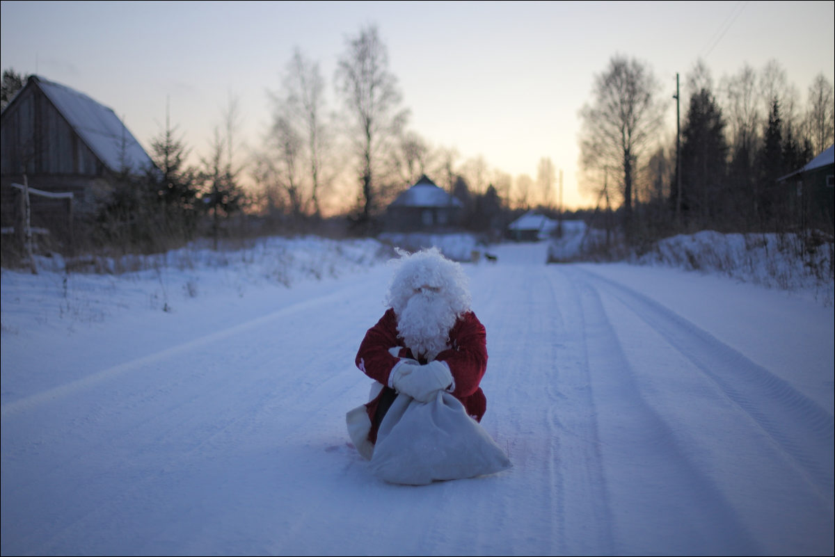 Дед Мороз зимняя дорога вечер