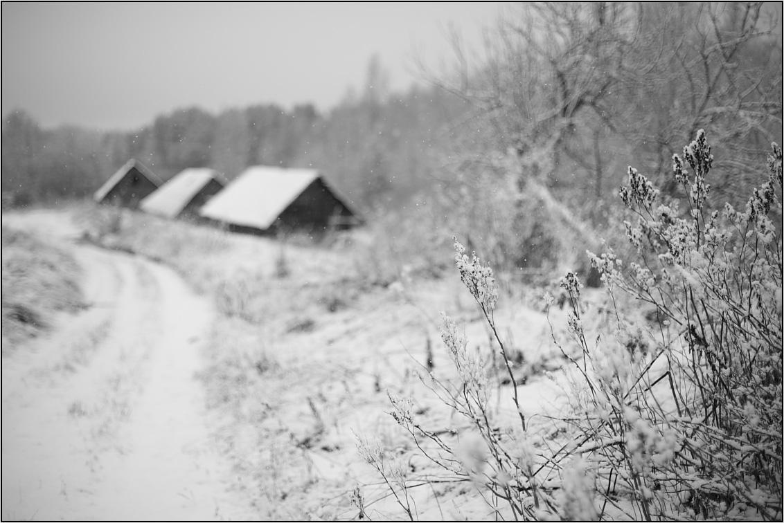 деревня бани зима