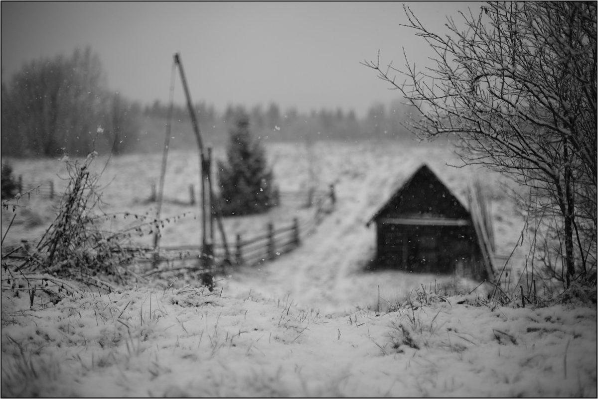 колодец с журавлем баня зима