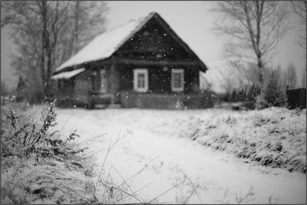 деревенский дом зима