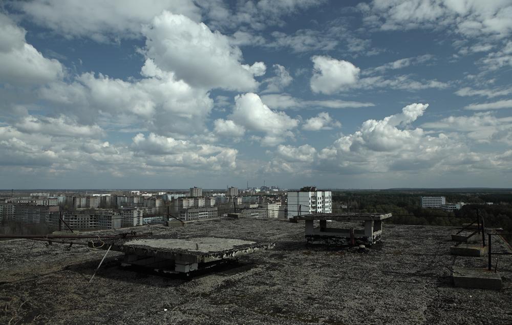 Вид на Припять с высоты весна ЧАЭС