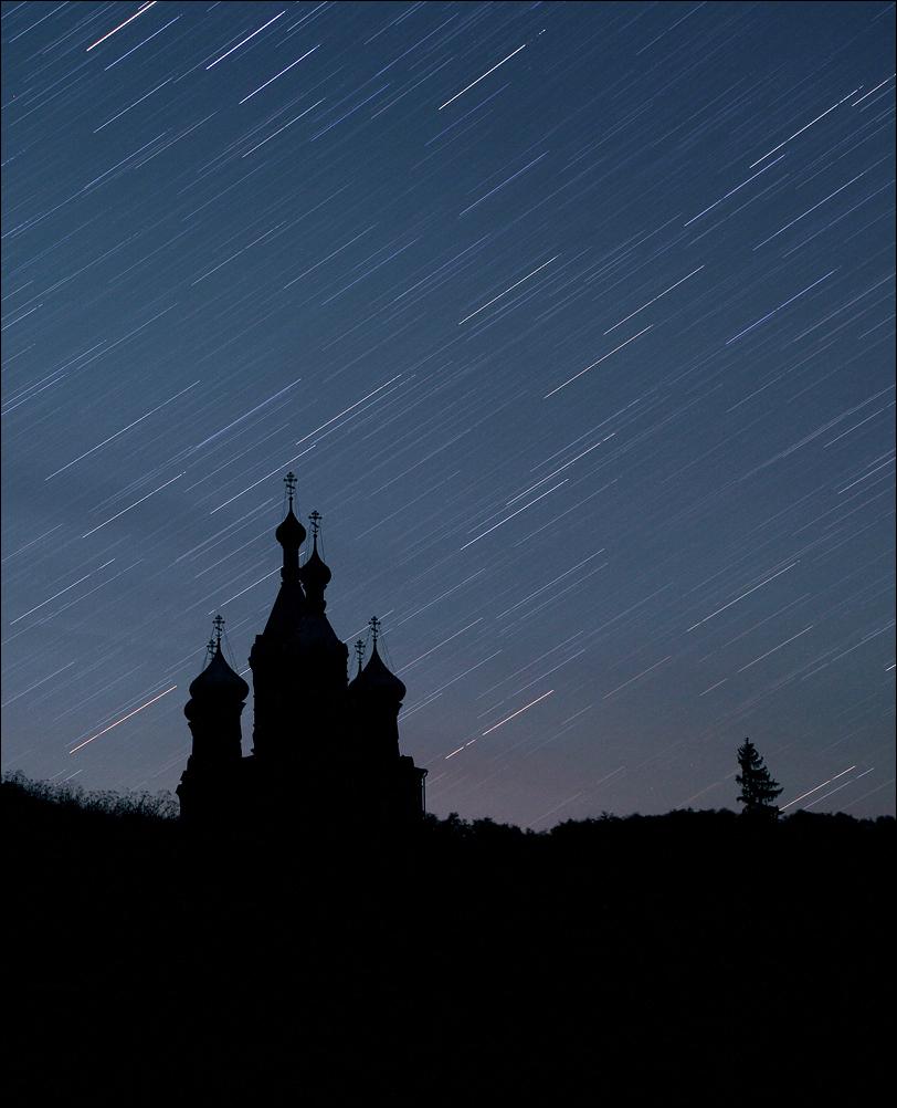 храм ночью звёзды