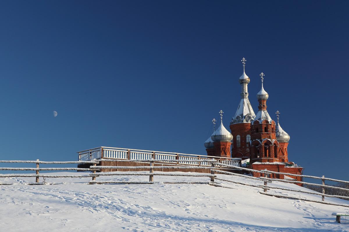 Исток Волги в морозный день