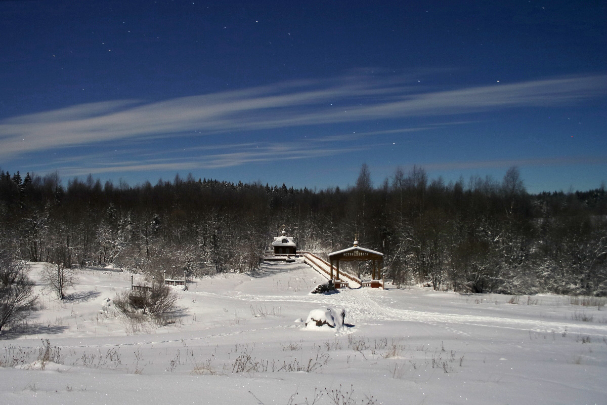 Морозная ночь над истоком Волги