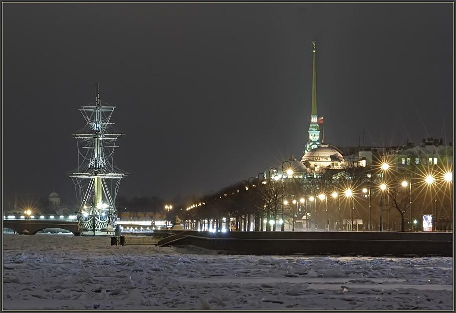 Петропавловская крепость фонари зима